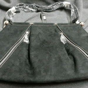 Tosca Black Suede Purse Handbag Tote Shoulder bag